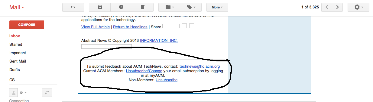 The ACM's email unsubscribe section